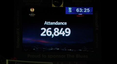 Zápas sledovala 26 849 divákov, lístok nás stál 15 libier.